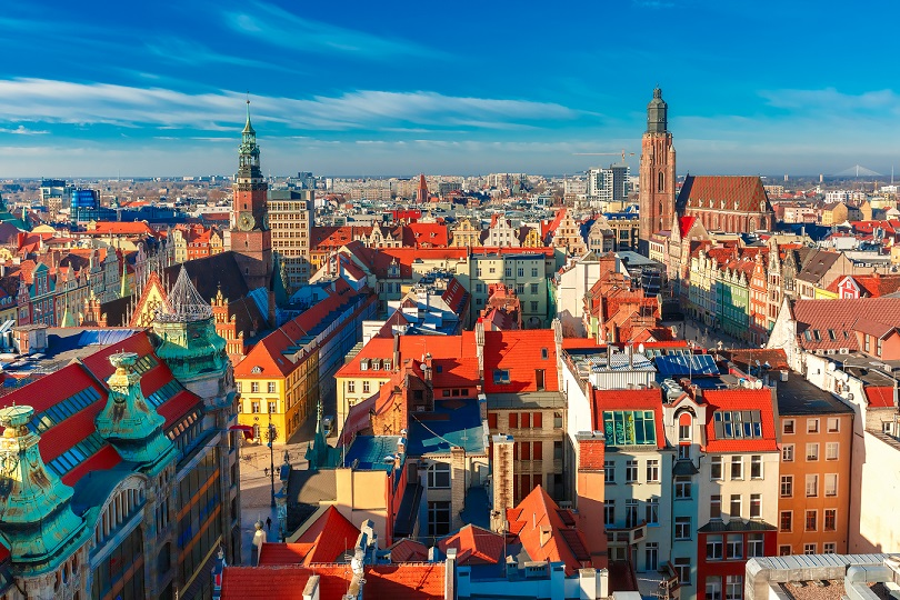 Aerial view of Stare Miasto with Market Square, Old Town Hall and St. Elizabeth's Church from St. Mary Magdalene Church in Wroclaw, Poland